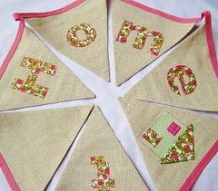 Sweet Home bunting (SewSweetViolet) Tags: pink house green home beige pretty natural handmade linen flag decoration flags garland fabric present etsy custom bunting keepsake bespoke personalised libertyoflondon appliqué sewsweetviolet