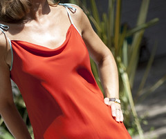 coral-red-silk-dress-2 (lignedesoie) Tags: resortwear silkgown redsilkdress