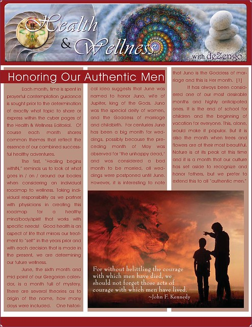 OMTimes Magazine : June 2011 Health & Wellness Editorial : Honoring Our Authentic Men pg1