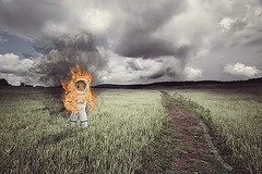 Rocketman (scifitographer) Tags: field photoshop fire path smoke meadow astronaut trail flame photomontage photomanip cs5 bethanthony retroreflectography
