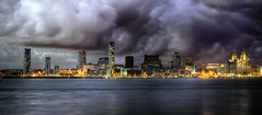 Liverpool PAN HDR (explore) (mrcheeky2009) Tags: urban panorama storm liverpool liverpooldocks landscape cityscape dramatic pan drama hdr liverbirds merseyside liverbuilding rivermersey panhdr