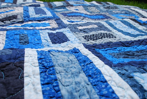 Quilting on Blue Blocks
