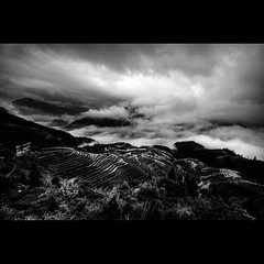 """you are just another mountain i should conquer...."" (j u n B a l l e n a) Tags: china blackandwhite mist mountains landscape riceterraces guanxi longji d40x sigma1020mmultrawidelens"