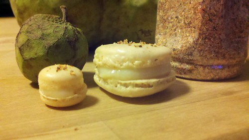 Cherimoya white chocolate macarons with tajin