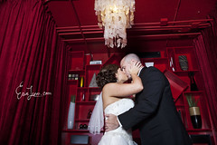 (Erin Leppo Photography) Tags: ca wedding red orange love rain night umbrella dark lowlight wizard santamonica gorgeous flash rainy late pocket softbox 580 ex2 grgeous