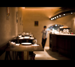 209/365 Dinner For One (brandonhuang) Tags: leica light blur kitchen field wall dinner table 50mm one restaurant warm dof bokeh plate tables plates noctilux walls waitress depth waiter m9 f095 brandonhuang leicam9 noctilux50mmf095