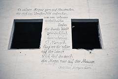 (Raphs) Tags: windows white house streetart wall germany deutschland graffiti poetry poem frankfurt empty ruin canoneos350d burntout raphs christianmorgenstern sossenheim tamronspaf1750mmf28xrdiiildaspherical mopsenleben
