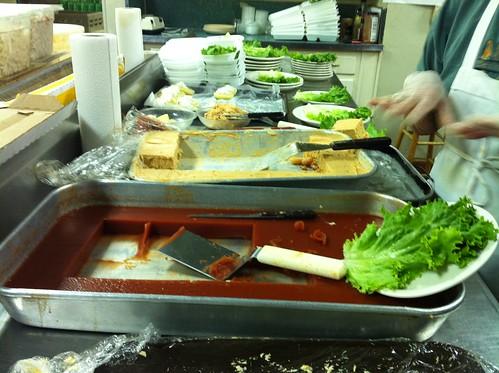 The salad station at the Calvary Waffle Shop