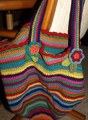 finished bag (Yarn.Pixie) Tags: flowers wool crochet yarn multicolored knitpicks attic24