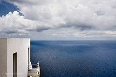 House with a view (Zalacain) Tags: blue sea sky white house clouds spain view cloudy space calm ibiza mediterraneansea gettyimagesspainq1 gettyimagesiberiaq2
