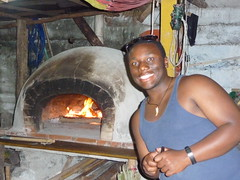 Cody Walker by a handmade pizza oven, the Sundog Cafe