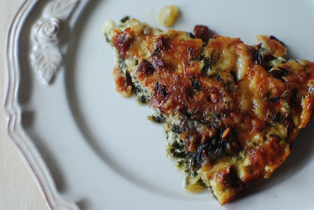 swiss chard and gruyere crustless quiche