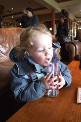 Thomas having a drink