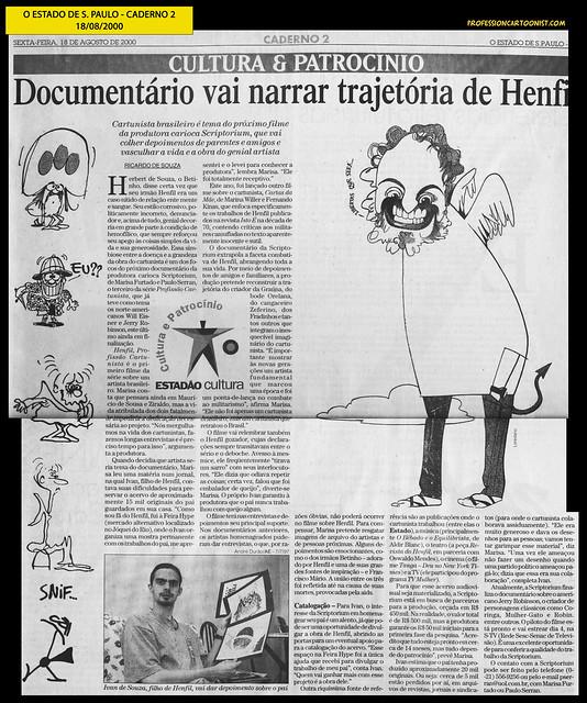 """""""Documentário vai narrar trajetória de Henfil"""" - Estado de São Paulo - 18/08/2000"""