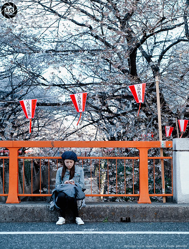 Hanami in Japan, 2011: The Girl on the Bridge, Naka-meguro, Tokyo