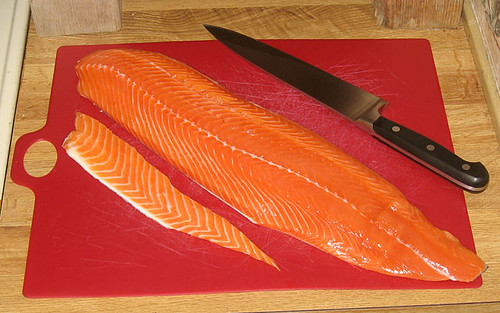 Salmon filet, trimmed in preparation for making gravlax