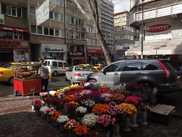 Lojas de flores nas ruas de Istambul