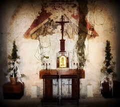 The Altar (deepintheforestcat) Tags: heaven darkness forgotten spiritual spiderwebs cobwebs afterlife darkart topiaries candelabras christonthecross thealtar deadspiders oldcatholicmissionchurch promisesofeternallife thecomingofchrist