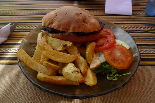 Veggie Burger and Fries - Sorata, Bolivia