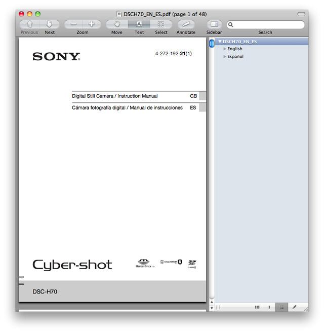 Sony H70 Manual