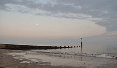 Bournemouth (dawn.v) Tags: uk sea england moon beach clouds reflections dorset april groyne bournemouth bournemouthseafront
