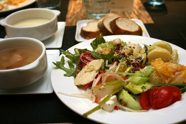Start off with a healthy platter of salad and soup