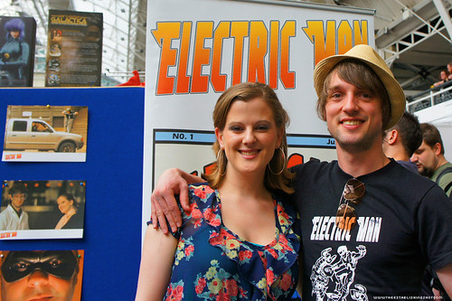 Kapow! Comic Con : Electric Man Booth actors Emily Lockwood and Toby Manley by Craig Grobler