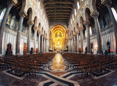Duomo di Monreale (Philipp Klinger Photography) Tags: trip windows light shadow sea vacation italy holiday church window lines gold golden chair nikon europe mediterranean italia mare pattern christ cathedral chairs geometry patterns jesus pillar medieval ceiling norman fisheye arab di sicily duomo middle pillars palermo zenitar philipp ages middleages dri hdr byzantine sicilia mediterraneansea christus monreale byzantium klinger pantokrator themiddleages byzantineempire zenitar16mmf28 duomodimonreale d700 normanarabbyzantine normanarabbyzantineculture normansicilian normanarab williamiiofsicily