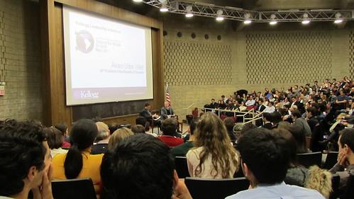 Alvaro Uribe speaking @ Kellogg School of Management