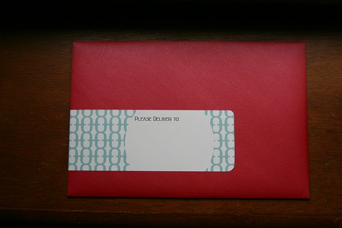 zinashi's announcement, front of envelope
