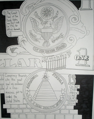 David LaMorte. Great Seal. 2011. Marker and ink on paper. 11 x14.