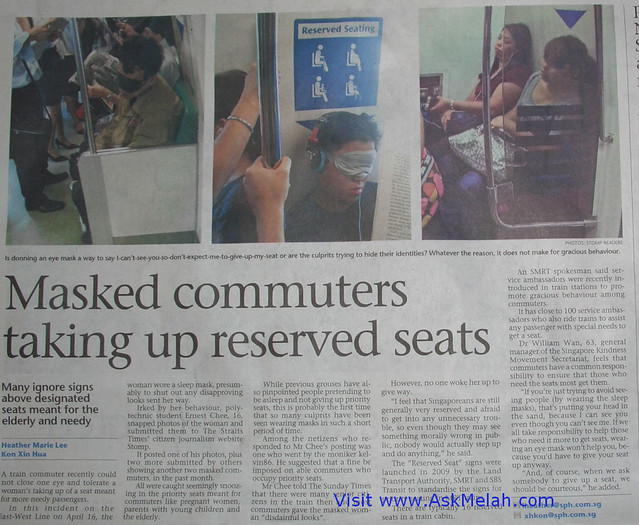 Anti Social Behaviour masked MRT commuters Apr 24 2011