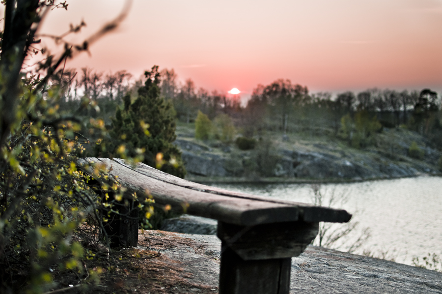 Sunset at a view bench