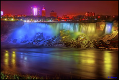 Niagara Falls Canada - American Falls Night Illumination (Moniza*) Tags: longexposure light ny newyork reflection water night niagarafalls waterfall illumination niagara nightlight lightshow americanfalls lightstream niagarafallscanada niagarafallsusa moniza