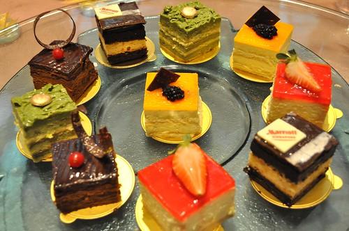 platter of cakes