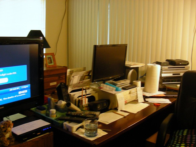 Sly's old setup on her computer desk