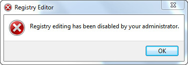 Registry editing has beed disabled by your administrator