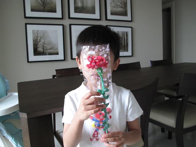 哥哥親手做的康乃馨