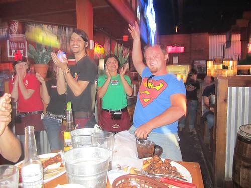 Celebrating Johans birthday at the Texas Roadhouse