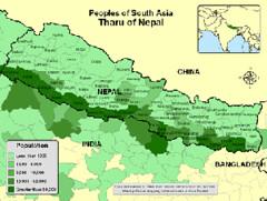 Distribution of Tharus in the Tarai, Nepal