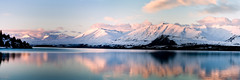 Lake Tekapo Panorama (Matthew Post) Tags: newzealand panorama lake snow mountains reflection canon 350d southisland laketekapo