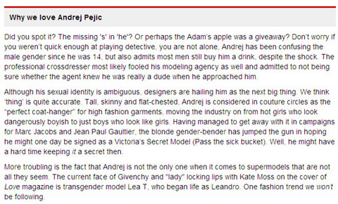 Screenshot of deleted FHM listing of androgynous Marxist male model Andrej Pejic as 98th sexiest woman (refered to by FHM as a 'thing')