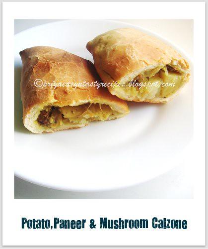 Potato,paneer & mushroom calzone