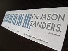 Hi I'm Jason Sander Business Card