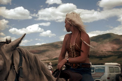 4d-120 (ndpa / s. lundeen, archivist) Tags: summer sky people horse woman color film girl clouds 35mm colorado nick young blond blonde 1981 rodeo aspen 1980s rider horseback 4d dewolf nickdewolf photographbynickdewolf reel4d wjrodeo