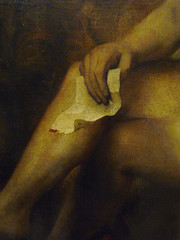 Rembrandt, Bathsheba at Her Bath with detail of letter