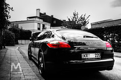 Black and White Panamera (Michael - Photography) Tags: street trip travel red party vacation sky people urban bw white house black colour car photography nikon photos porsche panamera flickraward