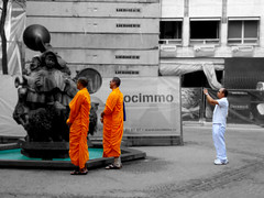 Taking a picture (Greelow) Tags: greelow luxembourg sony strange monk moine orange city urban odd photo asia people person