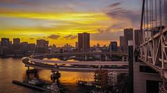Tokyo Sunset (elenaleong) Tags: rainbowbridge doubleloopedroad yurikamomeline shibaura tokyo elenaleong japan suspensionbridge bridgewalkway レインボーブリッジ minato tokyobay shibaurapier
