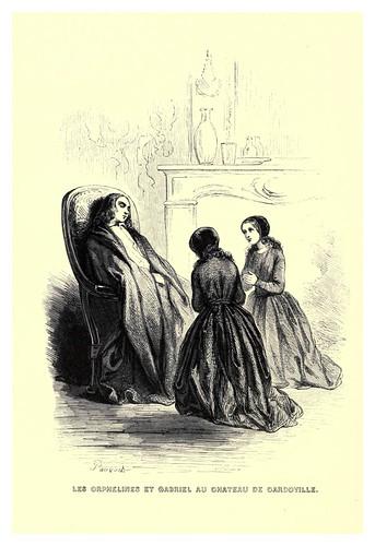 007-Las orfelinas y Gabriel en el castillo de Gardoville-Le juif errant 1845- Eugene Sue-ilustraciones de Paul Gavarni